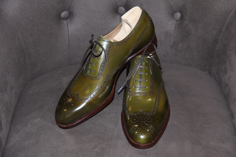 Schuhe Saint Crispin's Oxford full brogue, olive green