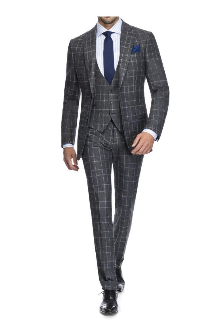 Maßkonfektion Flanell Anzug dreiteilig Überkaro