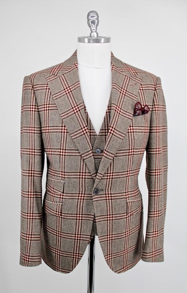 Anzug mit Weste Glencheck
