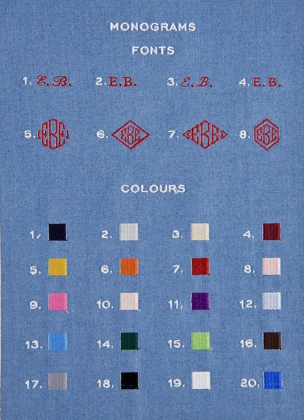 Monogrammfarben für Maßhemden