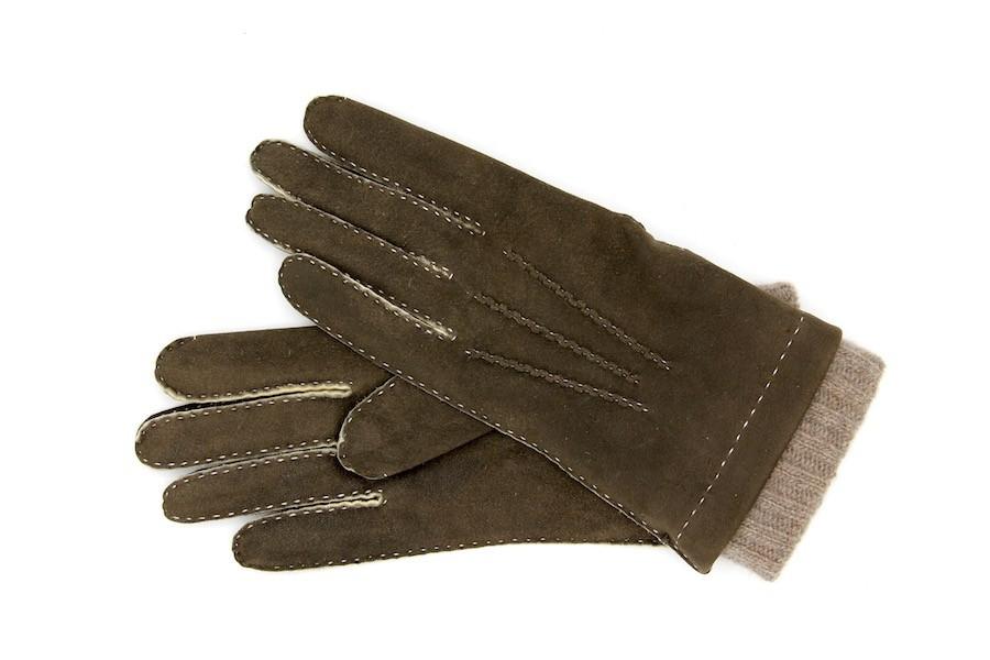 Handschuhe grün Lammfell